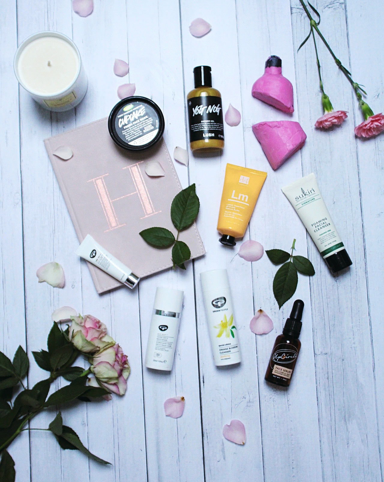 green vegan beauty brands - flatlay